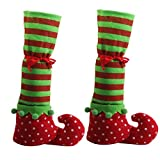 1 Pair Christmas Table Leg Covers Elf Elves Feet Shoes Legs Party Decorations