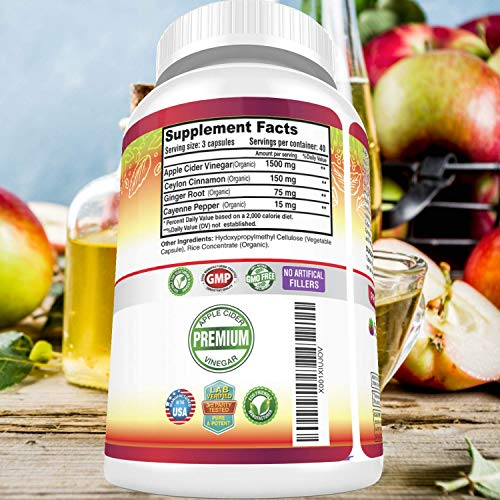 Organic Apple Cider Vinegar Pills Max 1740mg - 100% Natural & Raw with Ceylon Cinnamon, Ginger & Cayenne Pepper - Ideal for Healthy Blood Sugar, Detox, Weight Loss & Digestion - 120 Vegan Capsules by FRESH HEALTHCARE (Image #5)