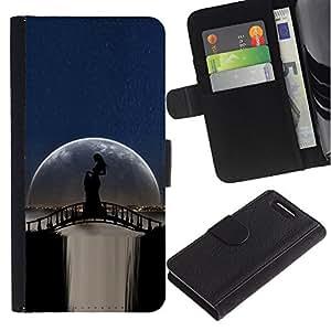 KingStore / Leather Etui en cuir / Sony Xperia Z1 Compact D5503 / Moonlight Puente Cascada Mujer Sombra