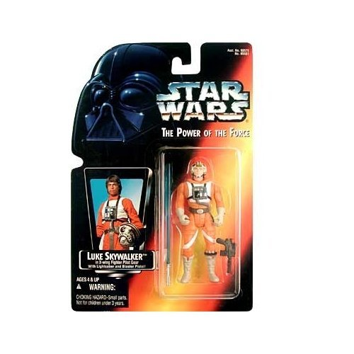 Star Wars: Power of the Force Red Card Luke Skywalker in X-Wing Fighter Pilot Gear with Long Lightsaber Action Figure