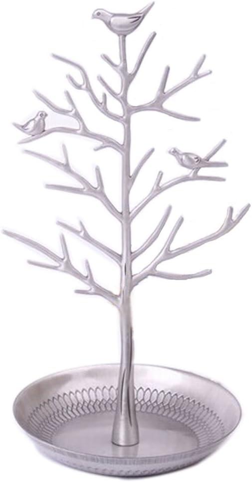 BLANCHO BEDDING Exquisito Organizador de Joyas de árbol de pájaro Plateado Soporte de exhibición para Anillos Pulsera Collar Pendientes