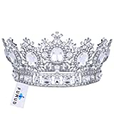 FUMUD White Rhinestone Gold Wedding Bridal Hair Accessories Tiara Crown Queen Crown Pageant Prom Headband 3.9'' (White)