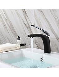 Beelee BL6622CB Single Hanle Single Hole Bathroom Vanity Sink Faucet, Polished Chrome Finish / Black Painting