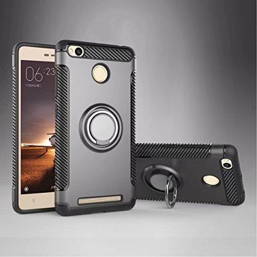 YAJIE-Carcasa Funda Para el caso de Xiaomi Redmi 3S, armadura de doble capa 2 en 1 caja de protección para trabajos pesados con 360 grados giratorio titular del anillo de dedo y el imán del caso del Gray