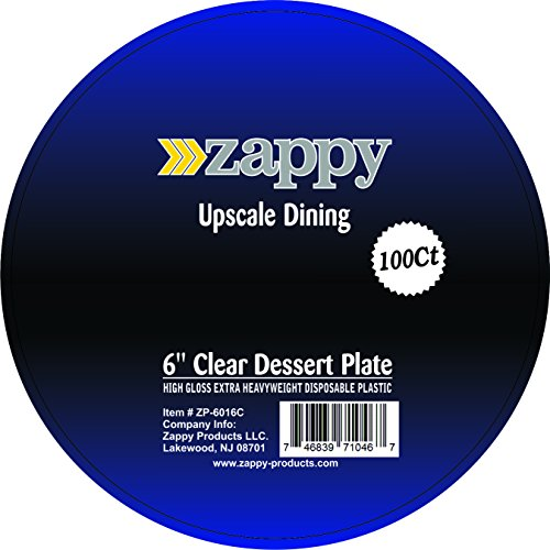 Zappy 100 Disposable Plastic Dessert Plates Premium Quality Plastic Plates, 6'' Hard Disposable Plastic Plates, Clear Appetizer Dinner Party Plates Great Dessert Appetizer Wedding Plates Party Plates by zappy (Image #6)