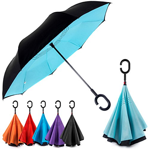 EEZ-Y Reverse Inverted Windproof Umbrella - Upside Down Umbrellas with C-Shaped Handle for Women and Men - Double Layer Inside Out Folding Umbrella -