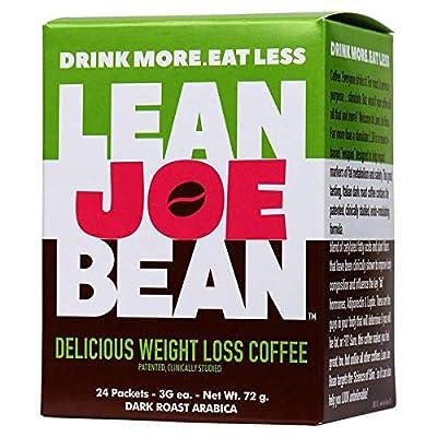 Lean Joe Bean Instant Coffee | from The Star Trainer on The Biggest Loser | Slimming & Detox Cleanse Blend | Keto Friendly Bulletproof Coffee | Dark Roast Arabica Coffee | Proven Effective | 24 Pack by LBM, LLC.