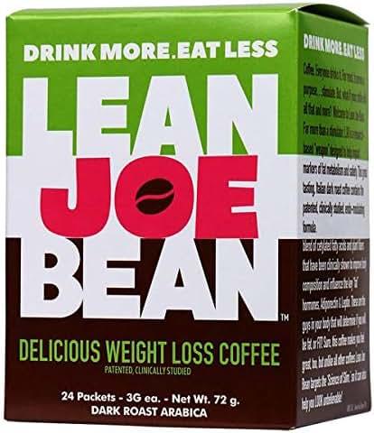 Lean Joe Bean Instant Coffee | from The Star Trainer on The Biggest Loser | Slimming & Detox Cleanse Blend | Keto Friendly Bulletproof Coffee | Dark Roast Arabica Coffee | Proven Effective | 24 Pack