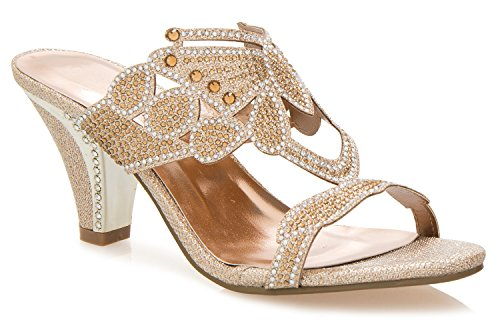 Gold Dress Sandals (OLIVIA K Women's Block Low Mid Heel Open Toe Sparkling Glitter Rhinestone Dress Sandal Slides Slipper)