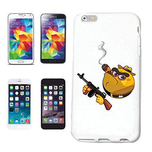 "cas de téléphone iPhone 6+ Plus ""SMILEY ALS MAFIA BOSS ""SMILEYS SMILIES ANDROID IPHONE EMOTICONS IOS grin VISAGE EMOTICON APP"" Hard Case Cover Téléphone Covers Smart Cover pour Apple iPhone en blanc"