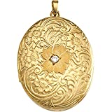 14k Yellow Gold, Diamond, Floral Engraved Oval Locket