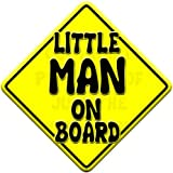 LITTLE MAN yellow non personalised novelty baby on board car window sign.
