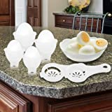Eggies Plastic Egg Cooker Set of 4 with 2 Separators - Boil Eggs Without Shells.