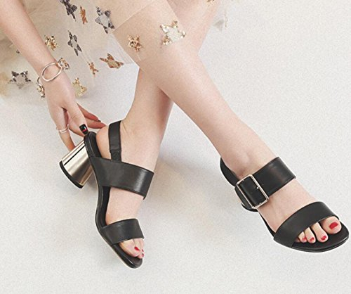 de Plein Chaussures ZXMXY air pour à Sandales Noir Sandales pour Femmes de Chaussures Talon Heels Dames Open Outdoor Toe Soirée Bloc Sandals Fashion qaSU8qxw