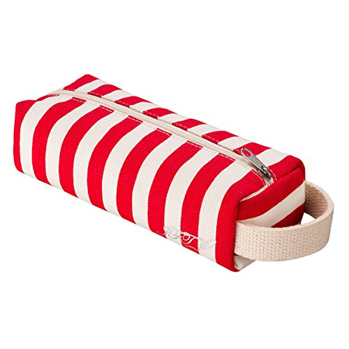 JFT Pencil Case with Hanging - Red and White Stripe 20 by 8 by 5 (Flower Girl Canvas Tote Bag)