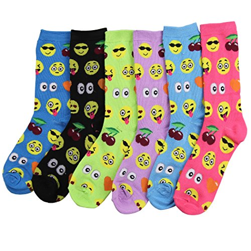 Smiley Christmas Faces - Womens Fun & Colorful Holiday Crew Socks 6 Pack (Emoji Fun), One Size: 4.5-10
