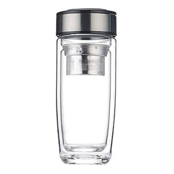 Botella de Agua de Vidrio 330/400ml,Doble Pared con ...