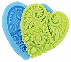 Flat Flower Heart Shape Food Grade Silicone Mold Chocolate Cake Decorating Heat Safe Mould for Polymer Clay Crafts