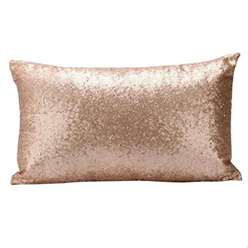 Winhurn Shiny Sequins Festival Pillow Case Cushion Cover for Sofa Bed Home Decor - Silk Fiber Gold