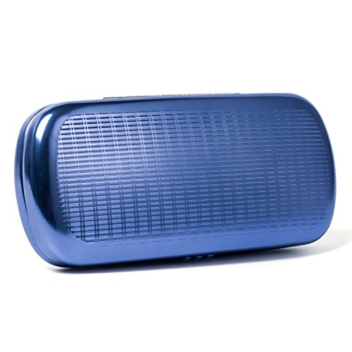 - Philley Striped Aluminum Hard Shell Metal Spectacles Box Eyeglasses Case (Blue)