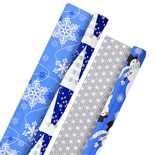 Hallmark Holiday Reversible Wrapping Paper Bundle, Blue and Silver (Pack of 2, 60 sq. ft. ttl) Snowmen, Snowflakes, Christmas Trees