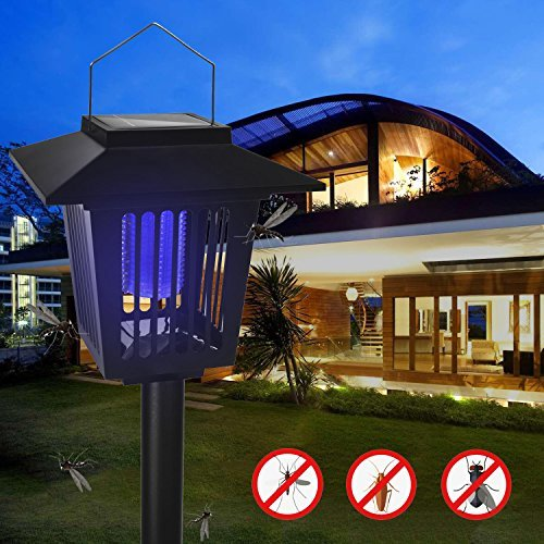 NONPEST New Upgraded Solar Insect Zapper - Enhanced Outdoor Flying Insect Killer & Bug Zapper With Hanging and Insertion - Best Stinger for Mosquitoes/Moths/Flies (black) … (black)