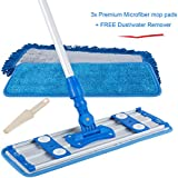 ALLZONE Professional Microfiber Mop for Hardwood Laminate Floor, Robust Adjustable Aluminum Handle, 360 Degree Rotatable Mop Frame, 3 Premium Reusable Wet | Dry Mop Pads + Free Scraper Cleaner Tool