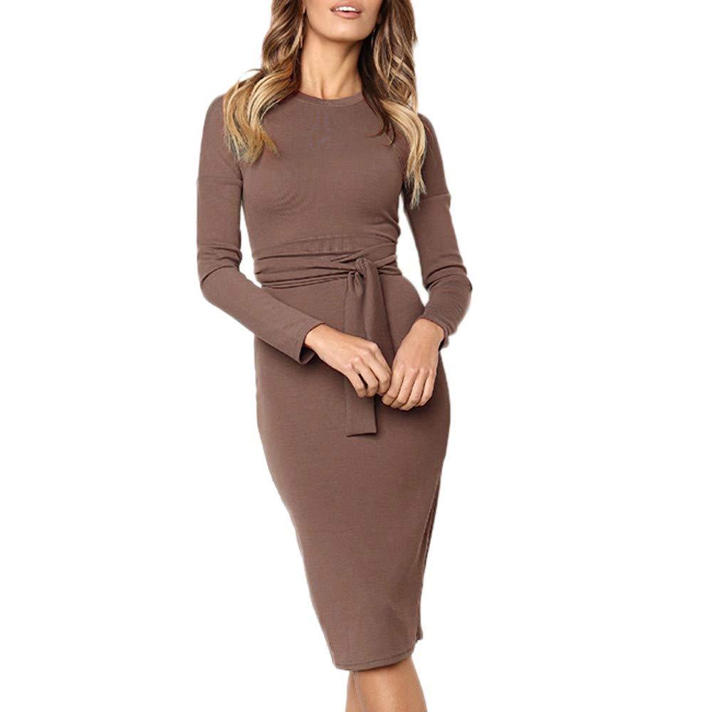 TIREOW Mode Damen Sexy Langarm Solide Oansatz Gürtel Bogen Verband Bodycon Langes Kleid