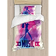Teen Room Decor Twin Size Duvet Cover Set by Ambesonne, Rock Star with Guitar inside Watercolor Cloud with Music Quote Print, Decorative 2 Piece Bedding Set with 1 Pillow Sham, Cream Pink Purple