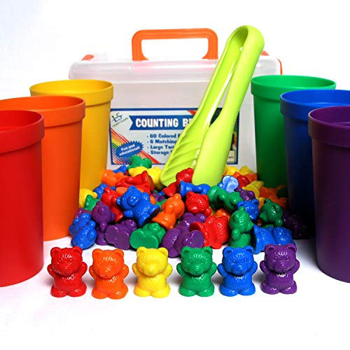 (Legato Counting/Sorting Bears; 60 Rainbow Colored Bears, 6 Stacking Cups, Kids Tweezers, Storage Container, and Activity eBook. Quality Educational Toy, Good for STEM and Montessori)