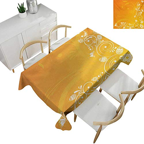 Orange,Fitted tablecloths,Easter Themed Abstract Composition with Ornate Flora Eggs and Butterflies,Tablecloths for Sale 60