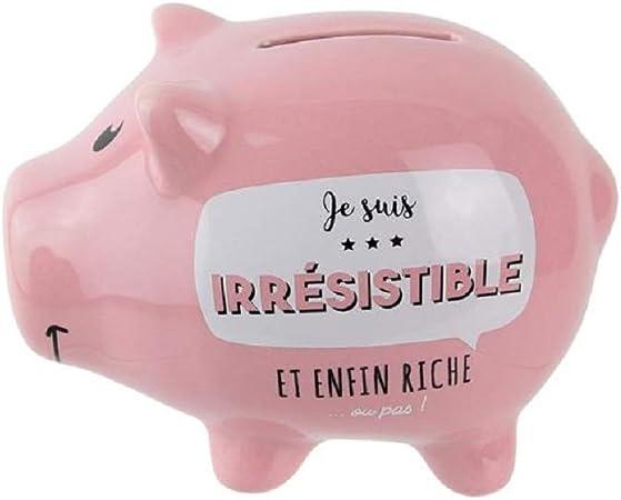 Groupe CMP Couleur Rose p/âle Tirelire en Mati/ère C/ÉRAMIQUE Cochon Je suis irr/ésistible et Enfin Riche ou Pas