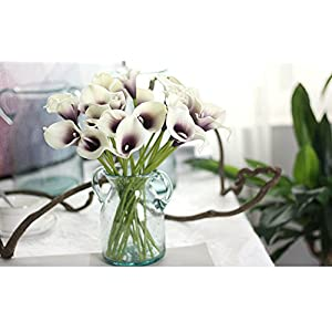 SMYLLS Calla Lily Bridal Wedding Bouquets with Latex-Look Like Real,Eco-friendly Odourless Artificial Flowers Christmas Home Decoration(12, Purple & White) 3