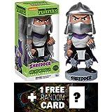 Shredder Bobble Head Figure: TMNT x Wacky Wobbler Series + 1 FREE Official classic TMNT Trading Card Bundle
