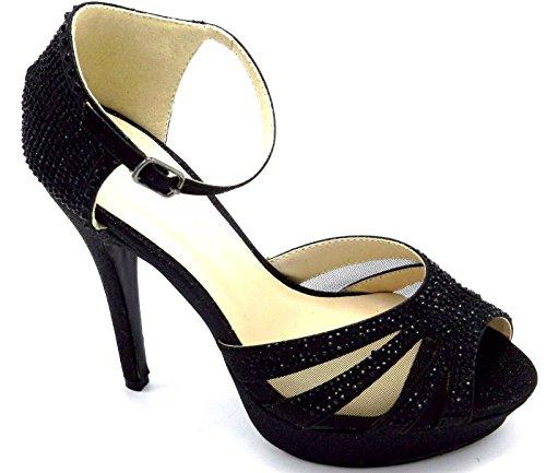 Womens Stiletto Clasic Bryllup Brude Kjole Pumpe Helbrede Perler Glitter Sandal Sko Svart-en