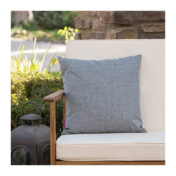 Christopher Knight Home Coronado Outdoor Water Resistant Square Throw Pillow, Grey - Add some color to your patio set with this water resistant outdoor pillow Made from top quality fabric that won't absorb every drop of water and dirt, this pillow was designed with both the outdoors and your patio in mind Manufactured in China - patio, outdoor-throw-pillows, outdoor-decor - 513cJ JfUBL. SS570  -