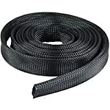 """100 FT 1/2"""" Black Expandable Wire Cable Sleeving Sheathing Braid Loom Braided"""