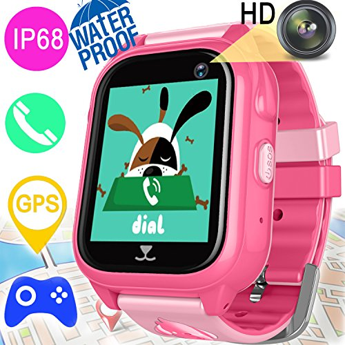 Kids Smart Watch GPS Tracker for Girls Boys Waterproof IP68 Fitness Trackers Smart Game Wrist Watch with SIM Pedometer Camera Anti-lost Swim Run Summer Oudoor Wearable Phone Bracelet for iOS Android