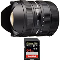 Sigma 8-16mm f/4.5-5.6 DC HSM FLD AF Ultra Wide Zoom Lens for APS-C sized Sony (203205) with Sandisk Extreme PRO SDXC 64GB UHS-1 Memory Card