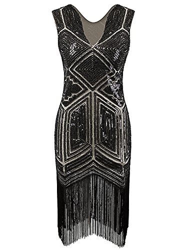 Black Fringe 1920 Flapper Costume (Vijiv Vintage 1920s Dress Flapper Costume Black Sequin Fringe Party Gatsby Dresses)
