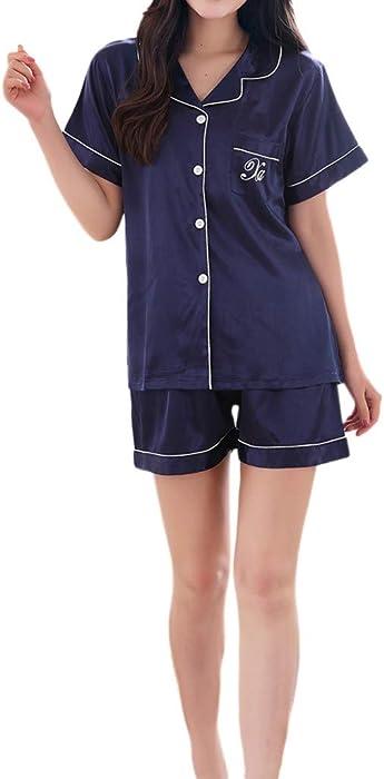 Rcool Camisones Batas y Kimonos Camisones Mujer Camisones Verano Camisones Tallas Grandes Mujer,Conjunto de Pijamas de Mangas Cortas de Color Puro de ...