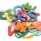 2 Sets Kids Toys Colorful Wooden Refrigerator Magnet Alphabet A-z Letters 26pcs