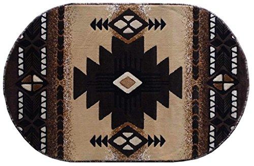 Southwest Native American Indian Design #CR18 Berber Beige Carpet Area Rug (3 Feet X 5 Feet Oval)