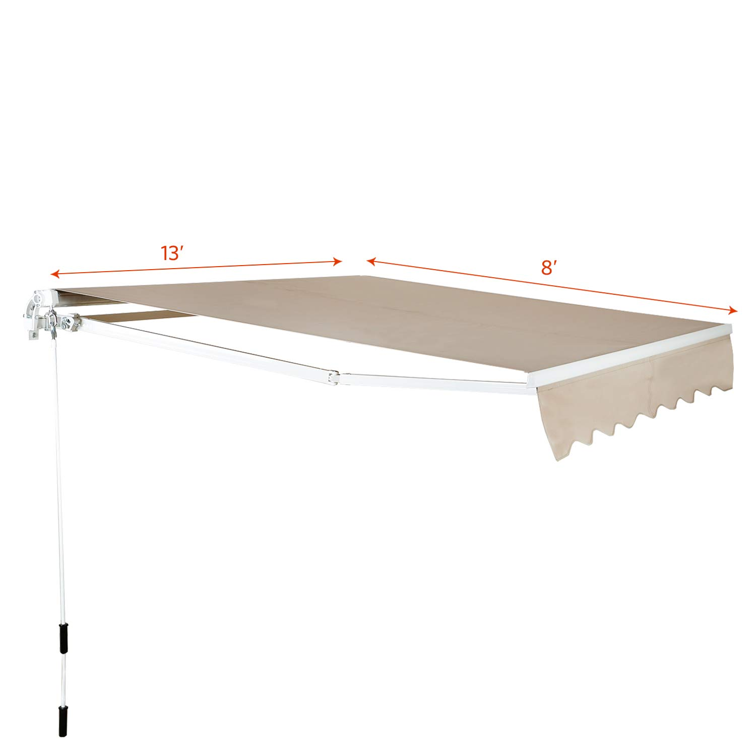 Aclumsy 13×8 Feet Retractable Patio Sun Shade Awning Cover w UV- Water-Resistant Fabric, Aluminum Frame, Crank Handle – – Beige