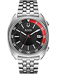 Bulova Accutron II Black and Red Dial Stainless Steel Quartz Mens Watch 96B210