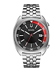 Bulova Accutron II Black and Red Dial Stainless Steel Quartz Men's Watch 96B210
