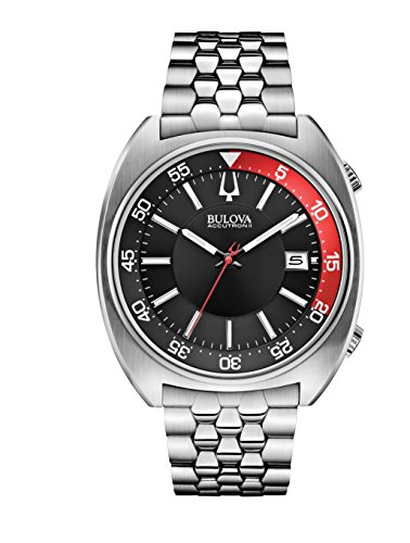 lack and Red Dial Stainless Steel Quartz Men's Watch 96B210 (Accutron Band Wrist Watch)