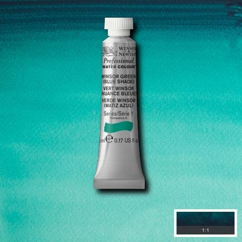 Winsor & Newton Artist Professional Watercolour Paint - 5ML Tube (Winsor Green (Blue Shade)) (Green 5 Ml Tube)