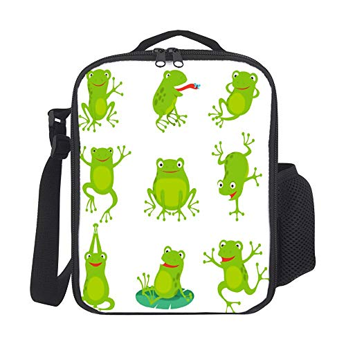 SARA NELL Kids Lunch Backpack Insulated Cute Cartoon Frogs Green Croaking Toad On Lotus Lunch Bag Large Lunch Boxes Cooler Meal Prep Lunch Tote With Shoulder Strap For Boys Girls Teens Women Adults
