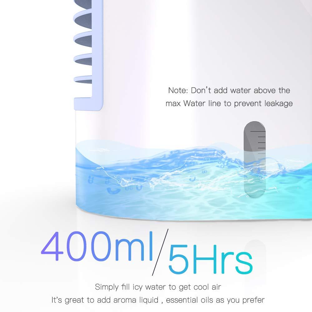 Blue 3 niveaux de puissance pour le camping /à domicile humidificateur et purificateur dair avec veilleuse Climatiseur mobile personnel 4 en 1 multifonction USB portable climatiseur